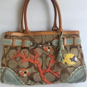 COACH Limited Edition Signature Fish Coral Handbag